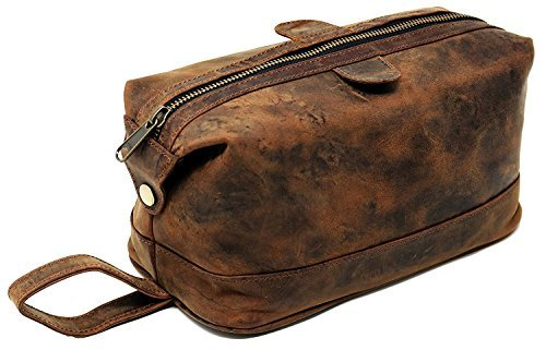 Men's Buffalo Genuine Leather Toiletry Bag waterproof Dopp Kit Shaving bags and Grooming Kit for Travel ~ groomsmen Gift for Men Women ~ Hanging Zippered Makeup Bathroom Cosmetic Pouch Case