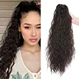 Corn Wavy Ponytail Extensions Garra en Cola de Caballo Extensiones de Clip de Pelo Natural Pedazo de Cabello Claw Jaw on Hairpiece 60cm Marron oscuro