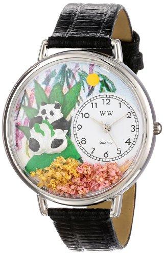 パンダ 黒レザー シルバーフレーム時計 #U0150017