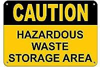 インチ、アルミ金属ノベルティ看板注意危険廃棄物保管エリア倉庫、ヴィンテージレトロな家の装飾金属看板アート装飾ティンサインポスター用ホーム