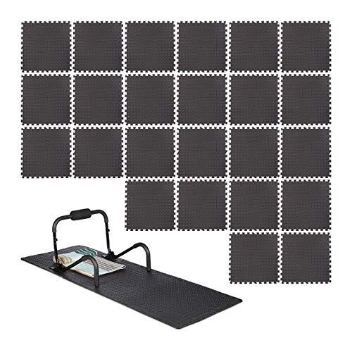 Relaxdays Bodenschutzmatte 60x60cm, 8er-Set, 3m², Unterlegmatte Fitnessgeräte, Stärke 1cm, Lärm- & Trittschutz, schwarz