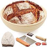 Cesta redonda para pan de 25,4 cm, para masa fermentada, kit de cuenco para hornear masa ascendente, regalos para hacer pan artesanal, incluye forro de lino, raspador de masa de metal, 5 cuchillas
