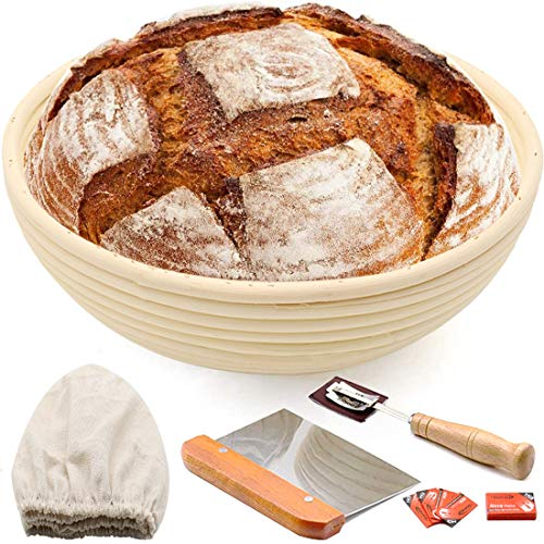 10' Round Bread Banneton Proofing Basket for Sourdough, Rising Dough Baking Bowl Kit, Gifts for Artisan Bread Making Starter, Includes Linen Liner, Metal Dough Scraper, Scoring Lame & Case, 5 Blades