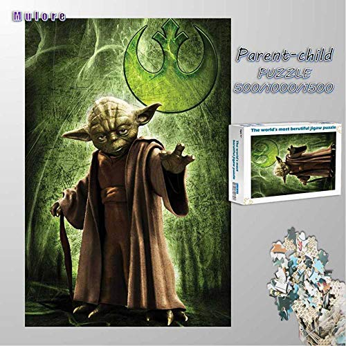 Mulore-Madera Rompecabezas Puzzle 1000 Piezas para Adultos Famiglia Padre-Hijo Juguete DIY Foto Relajado Ensamblaje Juego Regalo De Cumpleaños,Yoda Jedi Star Wars