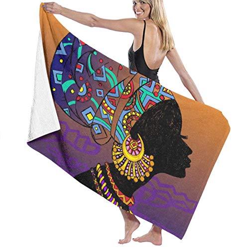 Lsjuee Toalla de Playa de Microfibra para Piscina, Silueta de Mujer Negra, Toalla de baño de Secado rápido, Toallas de Surf, Esterilla de Yoga (31.5