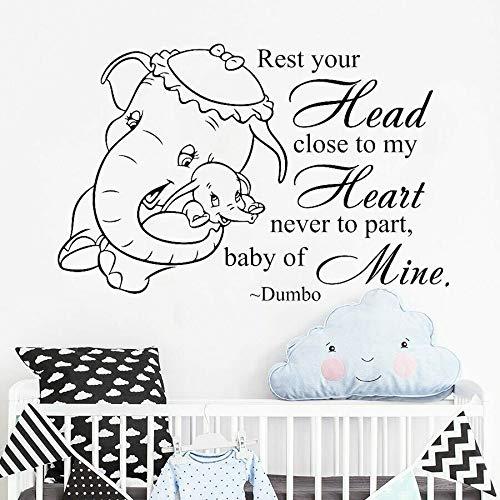Dumbo calcomanía de pared bebé elefante lindas pegatinas de vinilo niños decoración del hogar dormitorio habitación de bebé guardería texto Mural arte