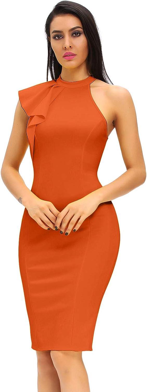 Eastylish Women's One Shoulder Ruffle Sleeve Midi Dress Bodycon Party Drerss