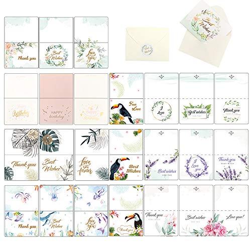 24 Umweltfreundliches Dankeskarten Grußkarte - Klappkarten mit 24 Umweltfreundliches Umschlägen, Vielseitige und Individuelle Motive als Danksagungskarten für Jeden Anlass!