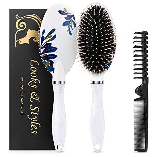 Hair Brush, Boar Bristle Paddle Hairbrush for Long, Thick, Curly, Wavy, Dry or Damaged Hair, Reducing Hair Breakage and Frizzy, No More Tangle