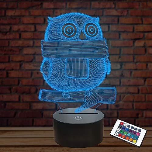 3D Illusion Night Light, Lampes de bureau à LED, Hibou, 16 couleurs USB Charge Éclairage Chambre Décoration Pour Enfants Noël Halloween Cadeau D'anniversaire