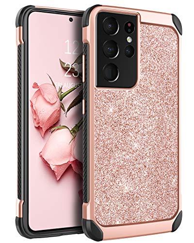BENTOBEN Funda para Samsung Galaxy S21 Ultra Carcasa protectora antigolpes Hybrid PC Cover de piel sintética y TPU Bumper Case Glitter 5G 6,8 pulgadas, oro rosa
