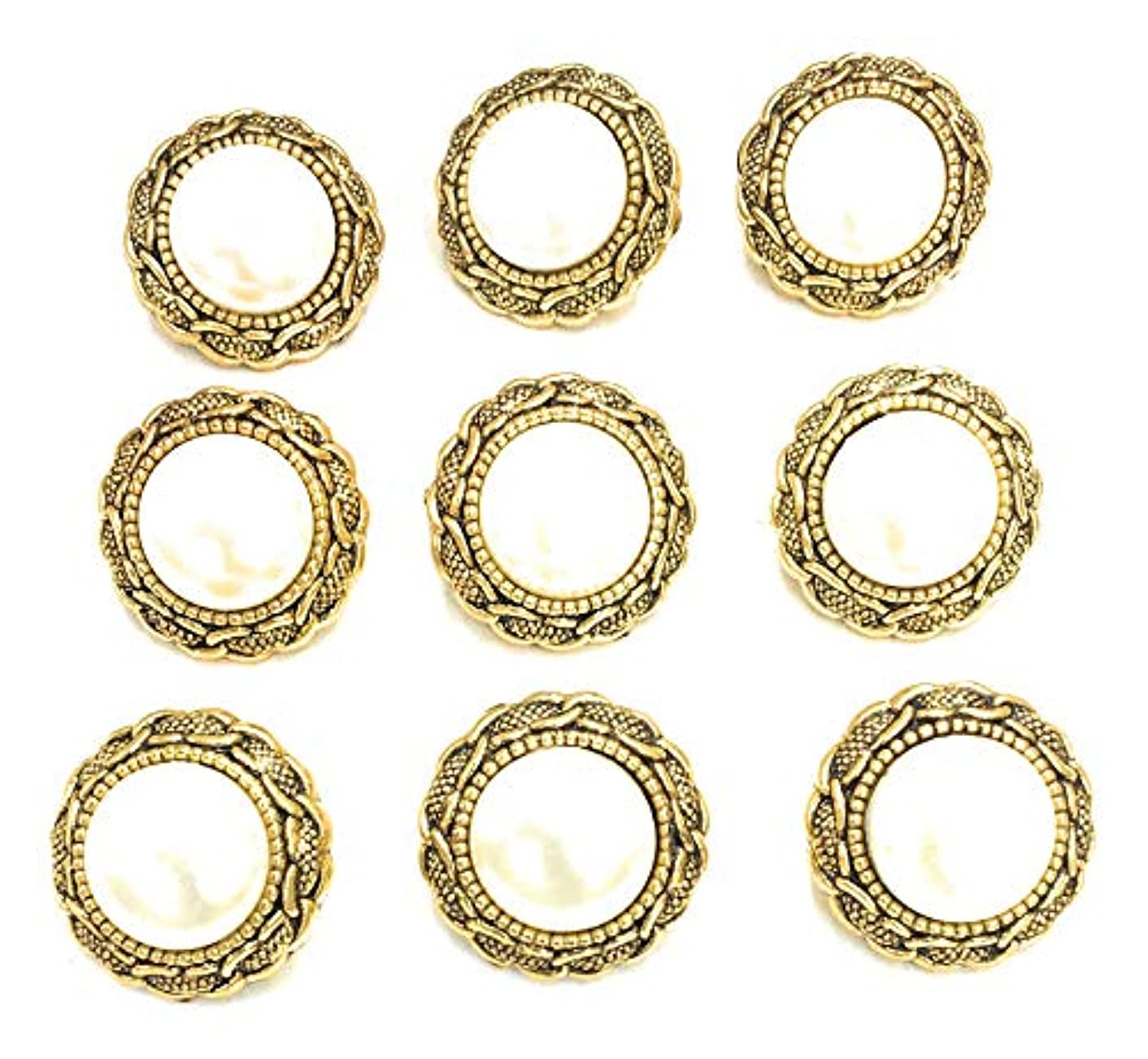9 Gold Rim Buttons with Pearl Settings 3/4''~ Gold Pearl Buttons