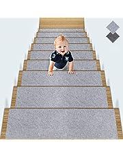 TOPLDSM Alfombras Antideslizantes Peldaños de Escalera Alfombrilla Antideslizante Interior para niños Mayores y Mascotas con Adhesivo Reutilizable, Gris, 5 Pcs Set