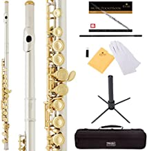 Mendini by Cecilio Premium Grade Closed Hole C Flute with Stand, Book, Deluxe Case and Warranty (Nickel Plated + Gold Keys)