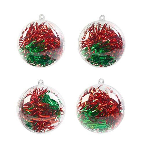 THE TWIDDLERS 48 Bolas de Navidad Transparentes para Llenar, 8cm - Adornos de Navidad Personalizable, Decoración Navideña, Manualidades, Regalos