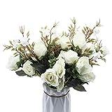 BuleXP 3 Pieza 10 Cabezas Flores Artificiales Rosas Decoración Plásticas Bouquet de Seda Simulación Flores Falsas para El Hogar de Mesa Weeding Party Decoración DIY o Ramo de Novia Blanco