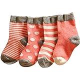 Baby Jungen und Mädchen Socken Schöne-Patchwork Baumwolle 4 Paar Strümpfe...