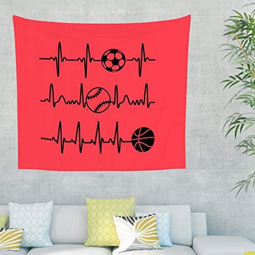 Gamoii Tapiz de pared para colgar en la pared, diseño de balón de baloncesto, color rojo, ideal para picnic, playa, yoga, meditación, decoración del hogar, funda para sofá blanca, 200 x 150 cm