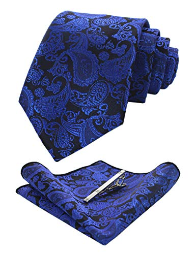 JEMYGINS Blau krawatte Paisley Seide Herren Krawatten und Einstecktuch mit krawattenklammer Sets (9)