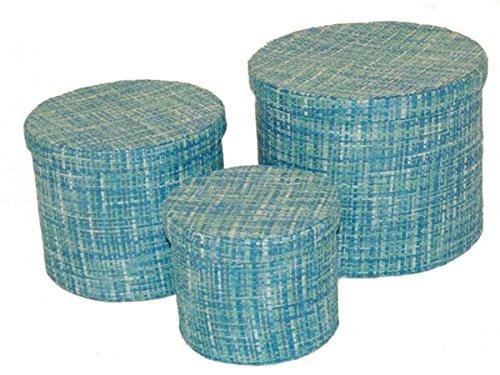 Dreams4Home 3er-Set Aufbewahrungsbehälter Felix Korb Gefäße Kiste Aufbewahrungsbox Box rund blau, braun, schwarz-weiß, grün, Farbe:Blau