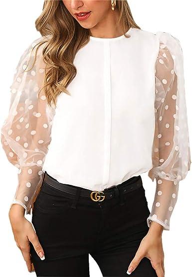 Camisa de punto acanalada de manga larga con malla de primavera para mujer, blusa de lunares ocasionales suelta, blusa de cuello alto, elegante, para ...