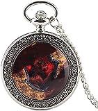 Reloj de bolsillo , color plata del cuarzo del reloj de bolsillo impresionante león de fuego de cobertura analógica colgante del collar del reloj floral regalos de la cadena rota reloj de bolsillo