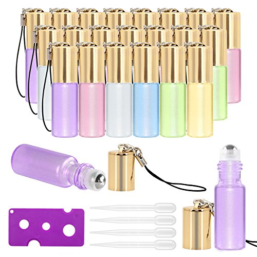 ★FASHIONABLE & ACTUAL GLASS BOTTLE - Pack of 24 pearl colored glass essential oil roller bottles with stainless steel roller balls, which is durable and fashionable for essential oil & other skincare applications ★USEFUL TOOLS - Include essential oil...