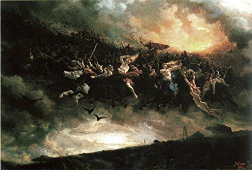 The wild hunt: Åsgårdsreien PAINTING CANVAS STRETCHED art norse mythology Peter Nikolai Arbo reproduction (Large)