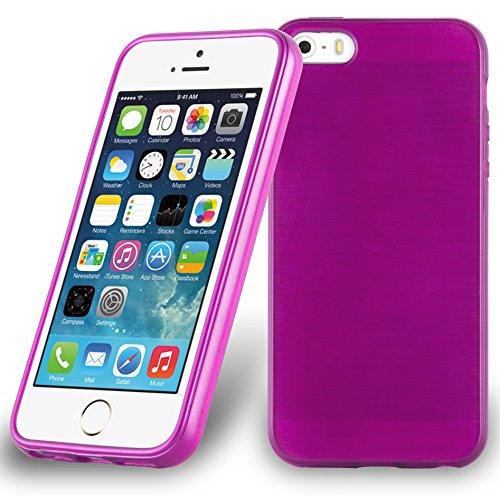 Cadorabo Funda para Apple iPhone 5 / iPhone 5S / iPhone SE en Fucsia - Cubierta Proteccíon de Silicona TPU Delgada e Flexible con Antichoque - Gel Case Cover Carcasa Ligera