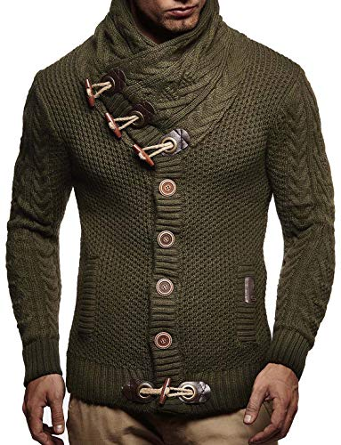 Leif Nelson LN4195 Men's Knitted Turtleneck Cardigan Sweater Pullover Sweatshirt Winter; X-Large, Khaki