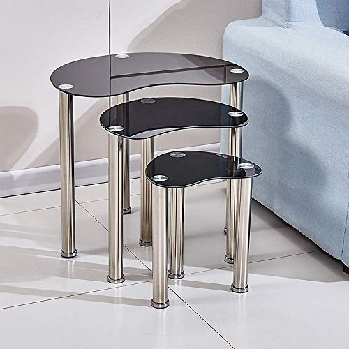 MissZZ Nesting Small Coffee Tables Glossy Transparent Nest of 3 Tables for Sofa Side Glass End Table Side Table Stackable Space-Saving Nested Tables with Chrome Legs