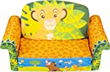 Marshmallow Furniture 2-in-1 Flip Open Foam Couch Bed Sleeper Sofa Kid's Furniture for Ages 18 Months and Up, The Lion King