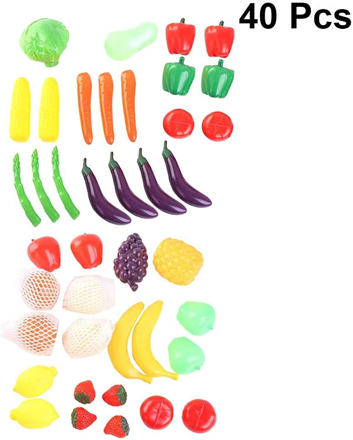 Flyme Baby Pretend Play Toys Cutting Fruits Vegetables Cooking Playset Cute Fun Educational Toys for Kids 40Pcs