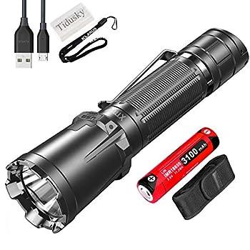 Klarus XT11GT Pro Lampe Torche Tactique Super Brillant 2200 lumens LED Puissante Rechargeable Lampe de Poche pour Extérieur Activités, avec Batterie 18650 et Boîtier de Batterie Tidusky