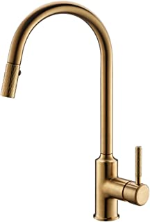 GIMILI Gold Kitchen Faucet with Sprayer,Modern Single Handle High-Arc Pull out Kitchen Sink Faucet with Pull Down Sprayer,Gold Finish