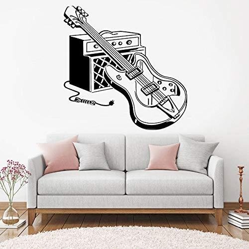 sanzangtang Rock Wandtattoo Musikliebhaber Kopfhörer Gitarre Wandaufkleber Teen Boy Girl Room Party Dekoration Wandbild Notizen Rekord 42X42 cm