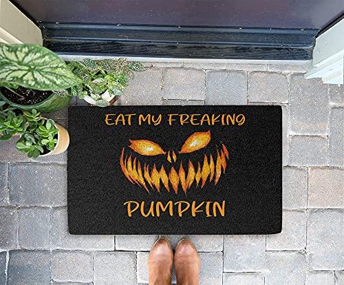 Halloween Doormat - Eat My Freaking Dark Pumpkin 24x16 Inch Outdoor Front Door Mat Kitchen Mat for Floor Welcome Home