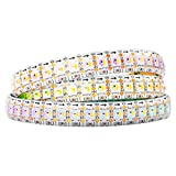BTF-LIGHTING RGBW RGB+Natural White SK6812 (Similar WS2812B) Individually Addressable 3.3ft 1m 144(2X72)LEDs Flexible 4 Colors in 1 LED Dream Color LED Strip IP65 Waterproof DC5V White PCB