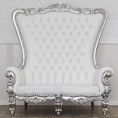 SIMONE GUARRACINO LUXURY DESIGN Sofá Regina Estilo Barroco Moderno Color Hoja Plata Eco-Piel Blanca Botones Crystal Sw