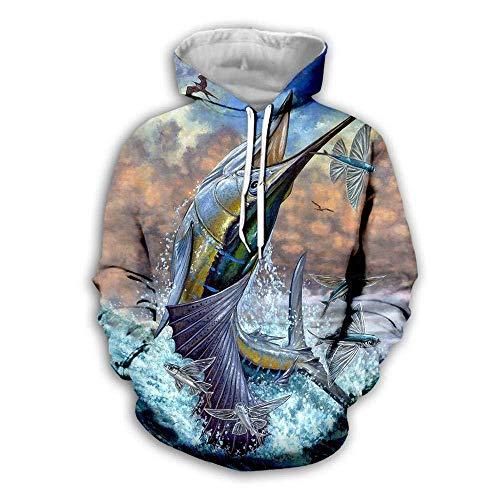 yyqx container 3D Sweatshirt Hoodie Fish 3D Hoodies Unisex All-Over Gedrukt Grappige Lange Mouw Trui met Kangoeroe Pocket Hoody Sweat Sweatshirts