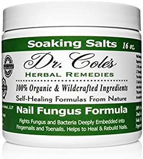 Dr. Cole's Organic Anti-fungal Hand & Foot Soaking Salts – Extra Strength, Herbal, Anti-fungus Treatment for Finger nails, Toenails & Athletes Foot Infections – Disinfects & Repairs Skin & Nails
