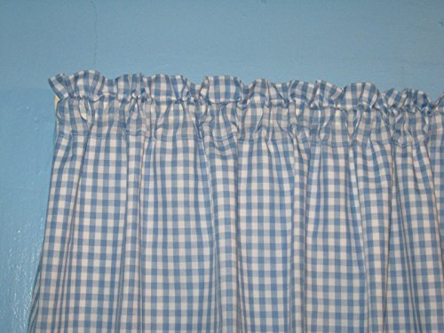 handmade Lined Blue White Gingham 1/4' Checked Window Curtain Valance
