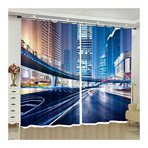 Beydodo Cortina Salon Poliester Cortinas Termicas 2 Piezas,Carretera Curva de Edificio Alto,Azul Cortina 214x183CM