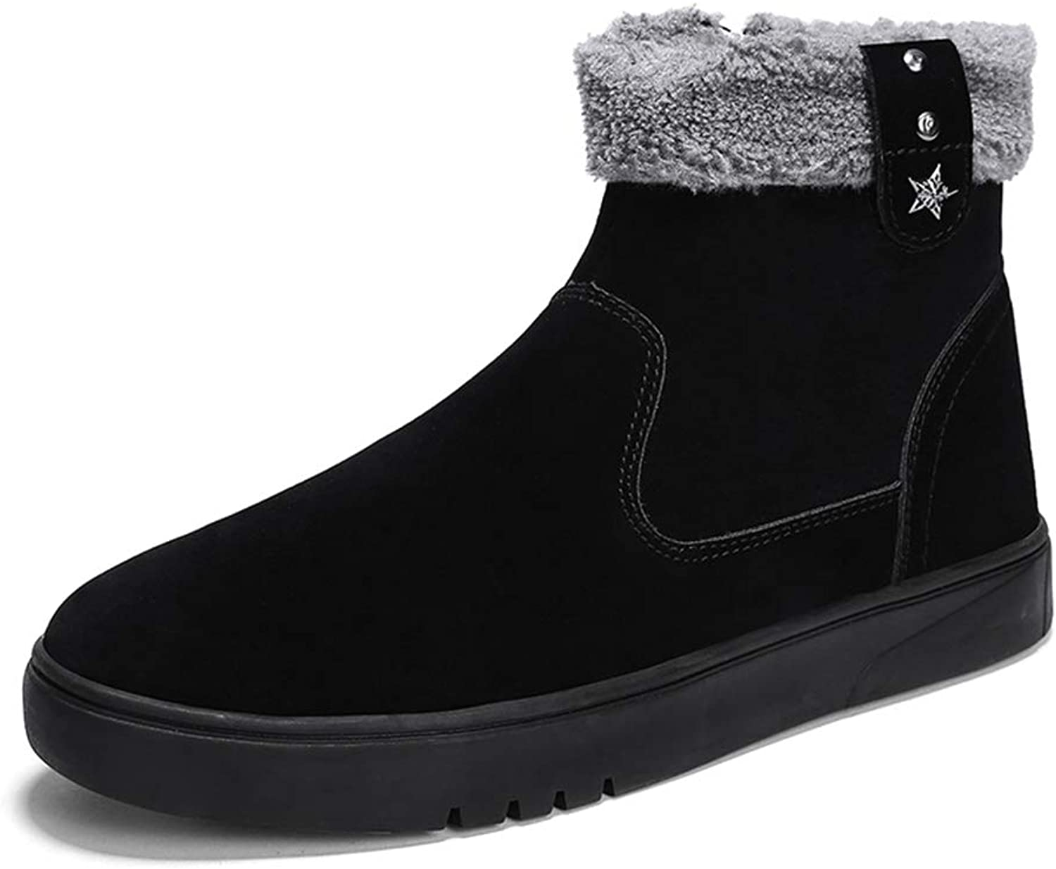 SRY-Fashion shoes Men's Stylish Snow Boots Warm shoes Casual Wrap Side Zipper Winter Faux Fleece Inside Menage shoes