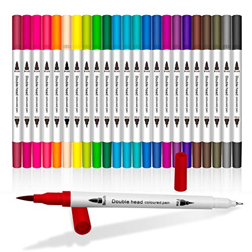Dual Tip Brush Art Markers Pens for Kids Adult Coloring Books Drawing Bullet Journal Planner Calendar, Yongqiang 24 Colors 1~2 mm Brush Markers & 0.4mm Fineliner Tip Colored Pen