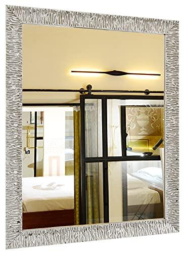 GaviaStore - Julie Silver 90x70 cm - Espejo de Pared Moderno (18 tamaños y Colores) Grande XXL hogar decoración Salon Modern Dormitorio baño Entrada plat