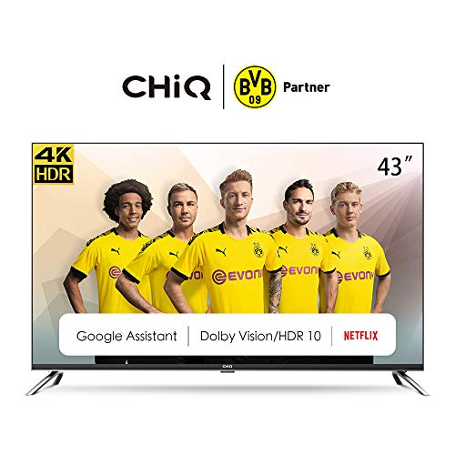 CHiQ U43H7A Randloser Android UHD LED Fernseher 43 Zoll TV 4k Randlos Smart TV 108 cm Bilddiagonale [Made in EU] (Version 2020, Ultra HD, Prime Video und Chromecast)