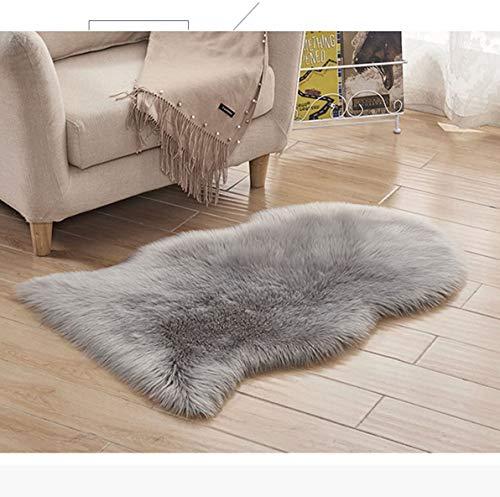 XUDAKJ Faux Lammfell Schaffell Teppich,Flauschig Weiche Nachahmung Wolle Teppich Longhair Nachahmung Wolle Bettvorleger Sofa Matte (L grau, 90 x 60 cm)
