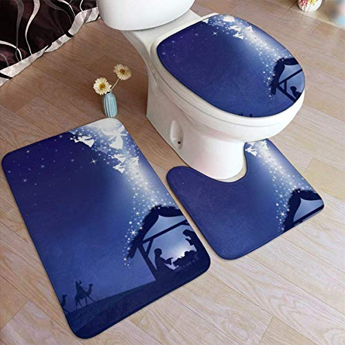 AMOY TANG Bathroom Three-Piece Toilet Christmas Cushion Non-Slip Carpet Pad Bathroom Absorbent Non-Slip Mat