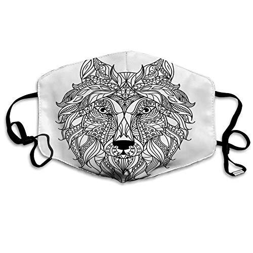Multifunktionale Gesichtsschutzhülle,Stilisierter Wolfskopf Für Malbuch Tattoo Vorlage Unisex Waschbar Wiederverwendbare Gesichtsdekorationen Für Den Persönlichen Schutz